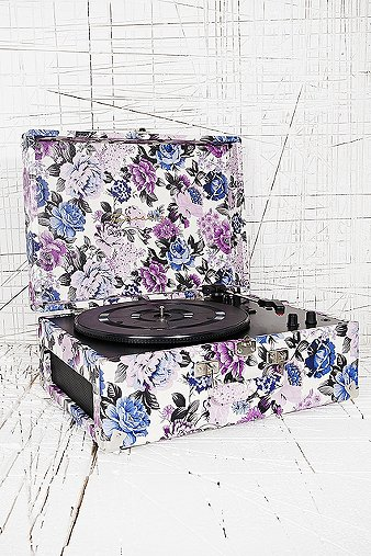 Crosley Keepsake Turntable in Blue Floral UK Plug