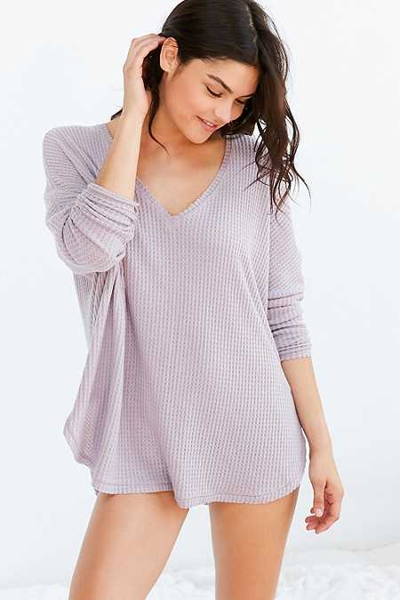 Out From Under Oversized Cosy Thermal V-Neck Top