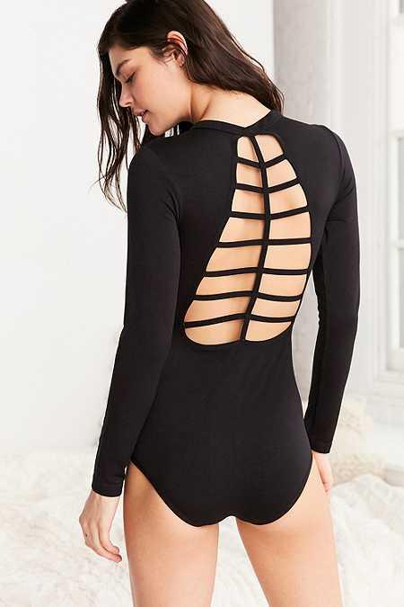 James - Body noir effet cage dans le dos