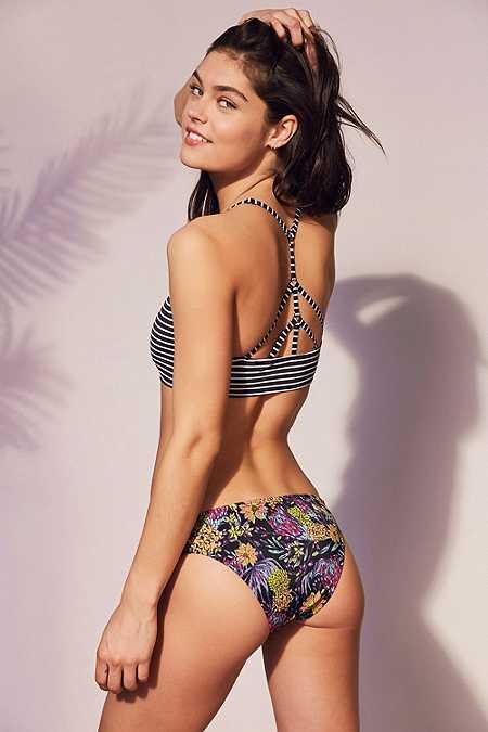 Out From Under – Bikinihose mit Riemchendesign und Print