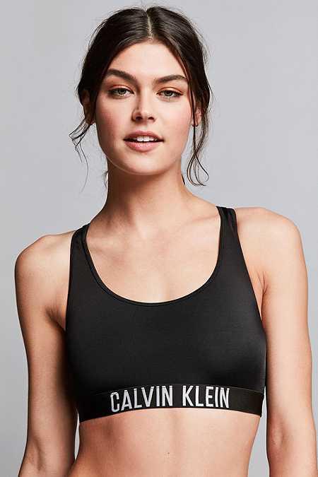 Calvin Klein – Bustier-Bikinioberteil in Schwarz mit Racerback