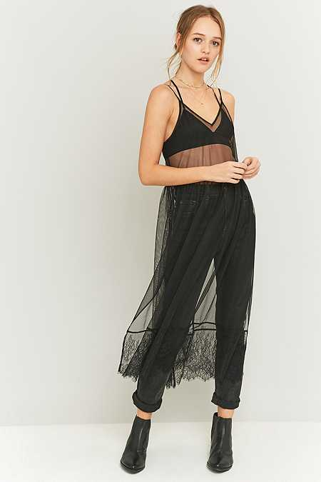 Light Before Dark Black Mesh and Lace Slip Dress