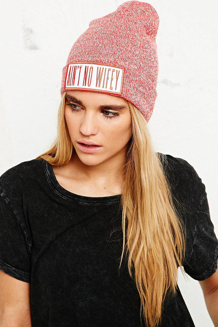 ba81d239ae5 DIMEPIECE WIFEY MARLED BEANIE HAT IN RED - URBAN OUTFITTERS on The Hunt