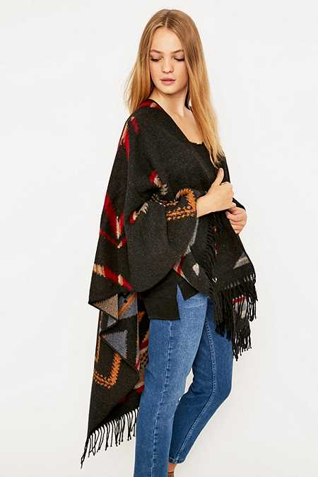 Kiboots Red and Brown Reversible Wool Cape