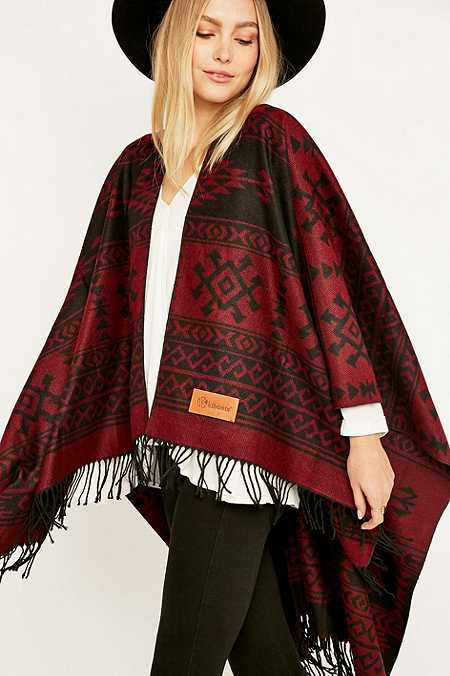 Kiboots Reversible Red Fringe Cape