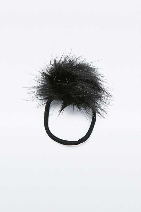 Élastique à cheveux duveteux noire