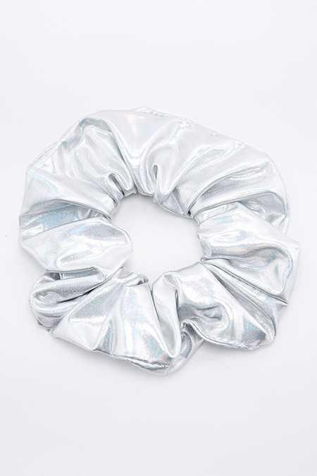 Holografisches Scrunchie-Haargummi in Silber