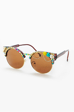 Spangled Embellished Half Frame Round Sunglasses