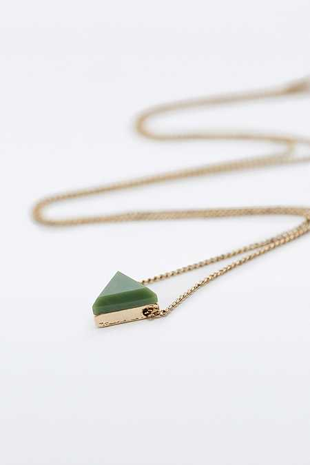 Green Triangle Pendant Necklace