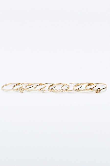 Delicate Bands and Heart Ring Multipack