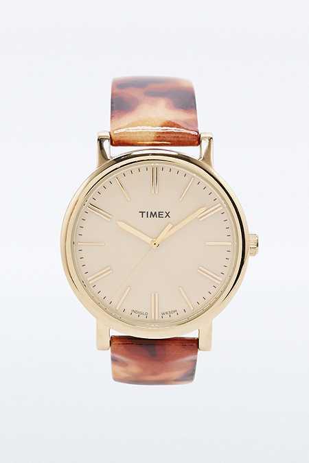 Timex - Montre Baton effet écailles de tortue dorée