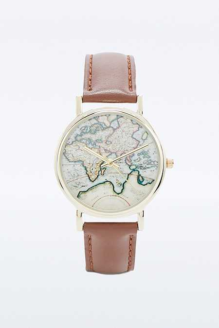 Globe Face Tan Leather Strap Watch