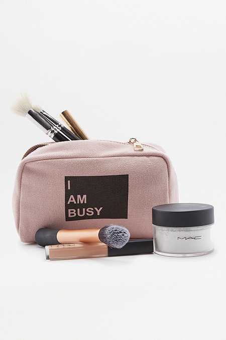 "Kosmetiktasche ""I Am Busy"" in Rosa"