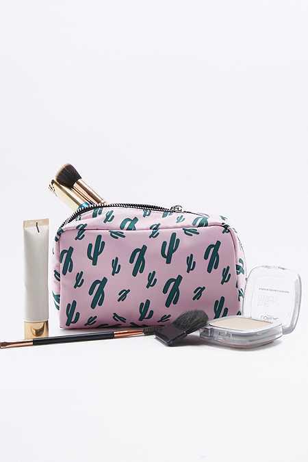 Kosmetiktasche in Rosa mit Kaktusmotiven