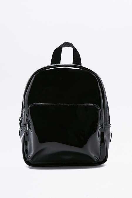 Mini sac à dos noir verni