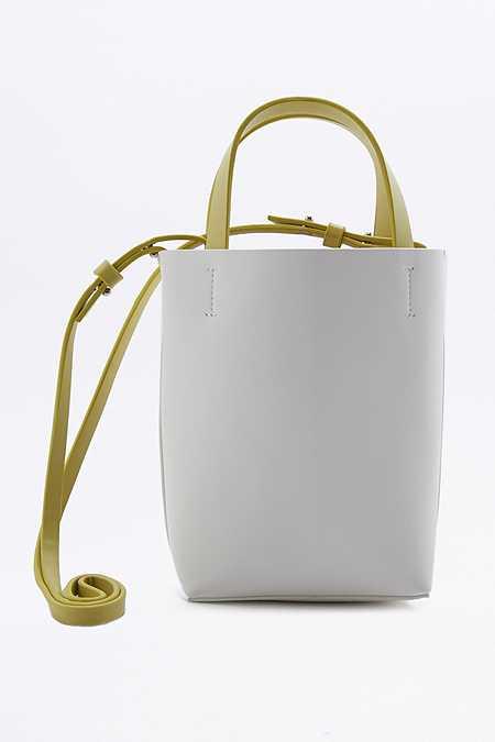 Mini cabas à bandoulière blanc et vert citron