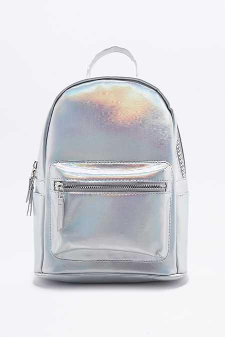 Schimmernder Mini-Rucksack in Silber