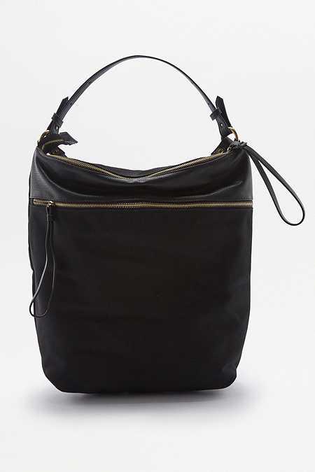 Umwandelbarer Rucksack aus Leinen in Schwarz