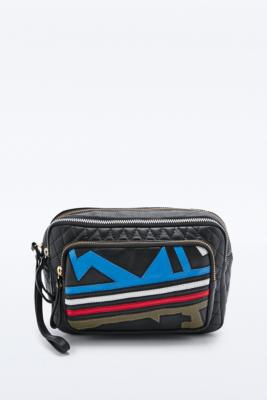 Colourful leather bumbag.
