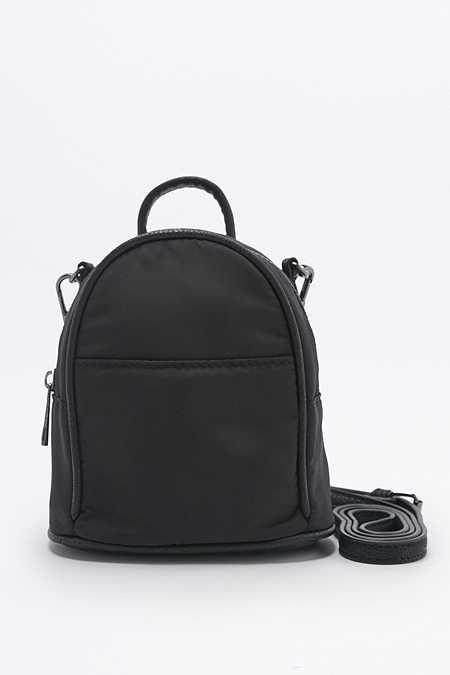Mini sac à dos à bandoulière en nylon noir