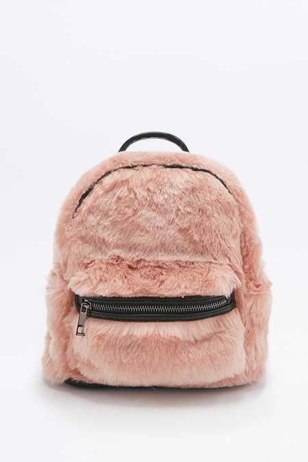 Petit sac à dos en fausse fourrure