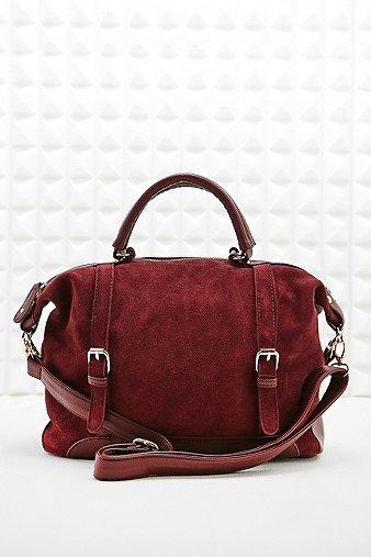 Deena Ozzy Suede Shoulder Bag In Burgundy 100