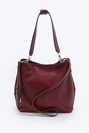 Deena Ozzy Suede Shoulder Bag In Burgundy 101