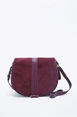 Deena Ozzy Suede Shoulder Bag In Burgundy 106