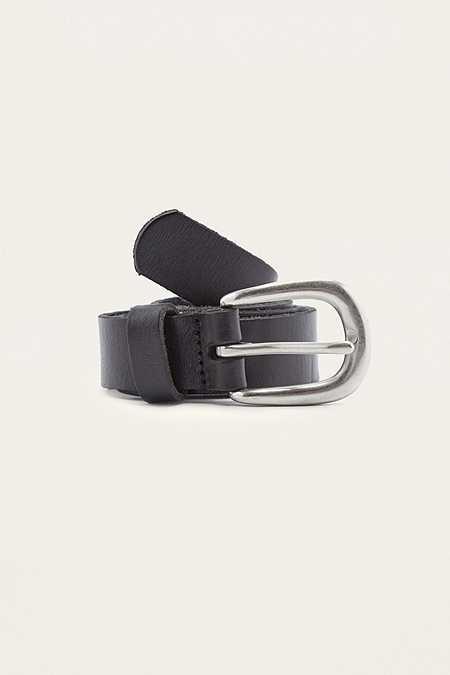 Ledergürtel im Boyfriend-Style in Schwarz und Silber