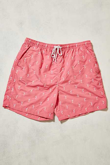 UO - Short de bain rose à motifs flamants brodés