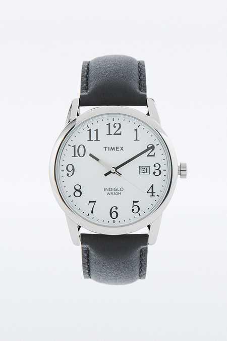 "Timex – Analoguhr ""Easy Reader"" mit schwarzem Lederarmband"