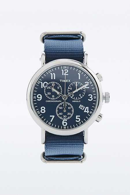 "Timex – Großer Chronograph ""Weekender"" mit marineblauem Armband"