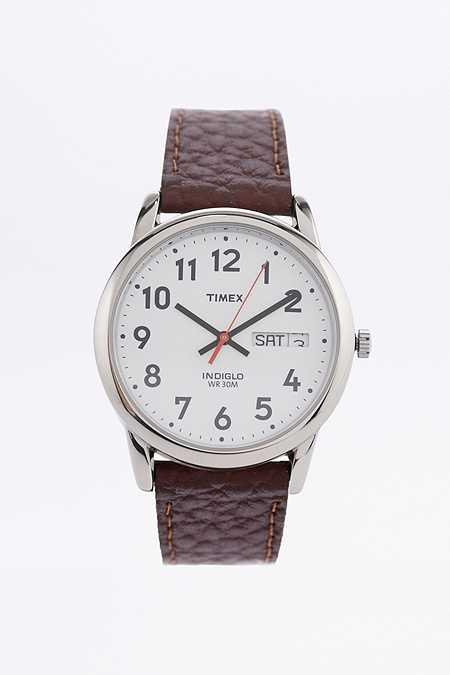 Timex Uhr mit braunem Lederarmband