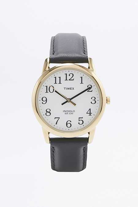 Timex Black Leather Gold Case Watch