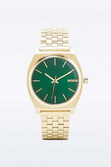 """Nixon – Analoge Armbanduhr """"Time Teller"""" in Gold und Grün"""