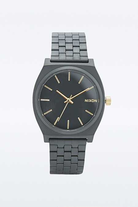 "Nixon – Analoge Armbanduhr ""Time Teller"" in mattem Schwarz und Gold"