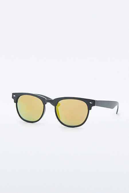 Urban Outfitters – Halbgestell-Sonnenbrille in Schwarz mit Revo-Gläsern
