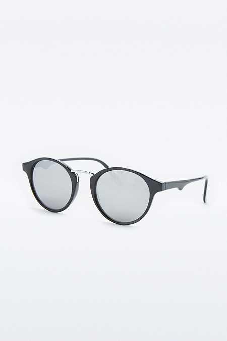 Urban Outfitters – Halbrunde Sonnenbrille in Schwarz