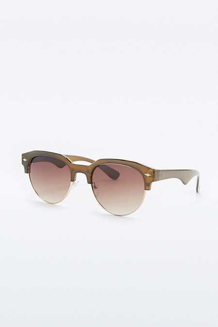 Urban Outfitters – Runde Sonnenbrille in Olivgrün mit breitem Halbgestell