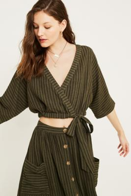 Uo Kimmy Stripe Wrap Cropped Top by Urban Outfitters