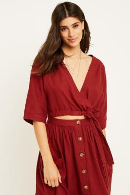 df43992a2b Shoptagr | Uo Kimmy Rust Wrap Cropped Blouse by Urban Outfitters
