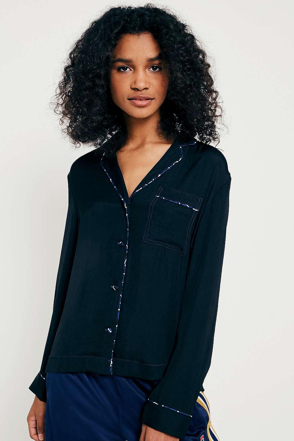 UO Marguerite Button-Down PJ Top, Black