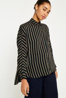 Urban Outfitters - UO Black Striped Button-Down Shirt, Black