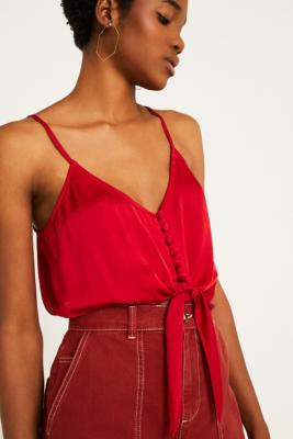 Uo Red Satin Tie Front Cami by Urban Outfitters