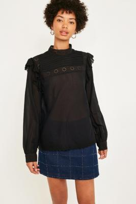 Uo Broderie Mock Neck Blouse by Urban Outfitters