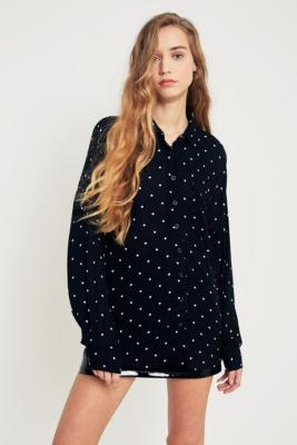 Pins and Needles - Pins  &  Needles Polka Dot Button-Down Shirt, Black