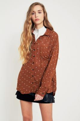 Pins and Needles - Pins  &  Needles Polka Dot Button-Down Top, Bronze