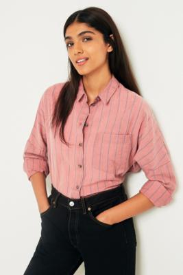 Cooperative by Urban Outfitters - Urban Outfitters Washed Brick Stripe Button-Down Shirt, Pink