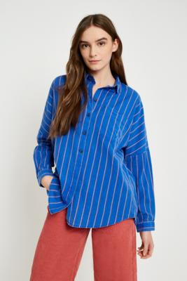 Cooperative by Urban Outfitters - Urban Outfitters Washed Striped Button-Down Shirt, Blue