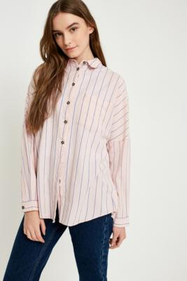 Cooperative by Urban Outfitters - Urban Outfitters Washed Striped Button-Down Shirt, Pink